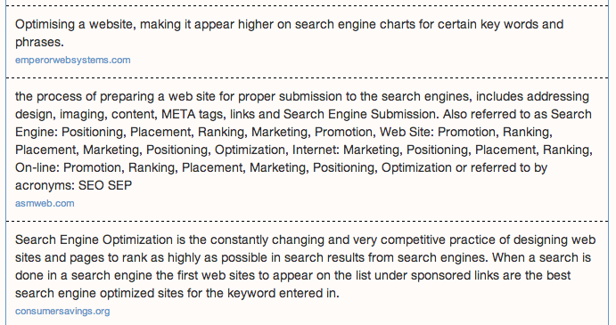 Definitions for search engine optimization 2