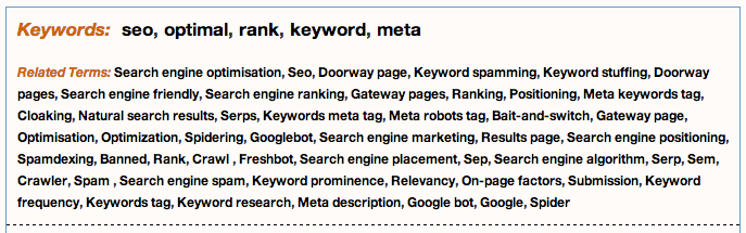Definitions for search engine optimization