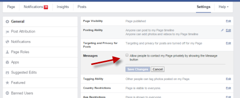 enable facebook message button