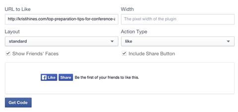 facebook like button set up