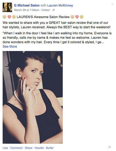 g michael salon employee tagged in review on facebook post