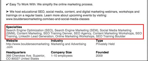 linkedin company page specialties with keywords