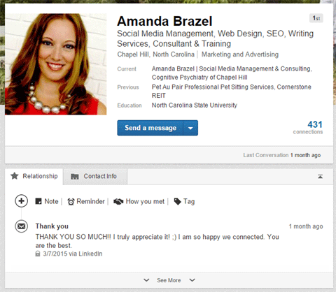 linkedin recent message in relationship tab