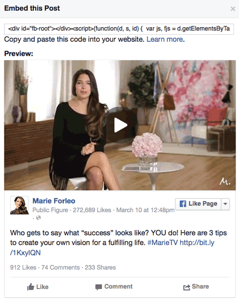 marie forleo video facebook post embed code