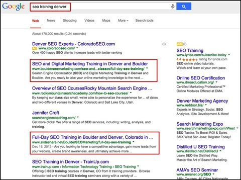 page one google search results