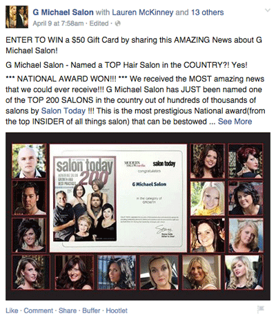salon award post with tagged employees