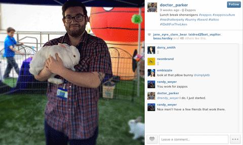 zappos employee instagram post
