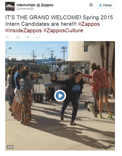 zappos internship welcome video tweet
