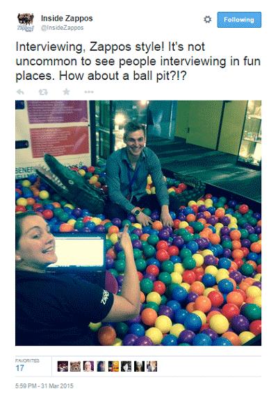 zappos job interview tweet