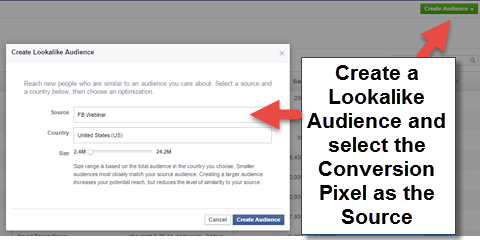 create lookalike audience with conversion pixel