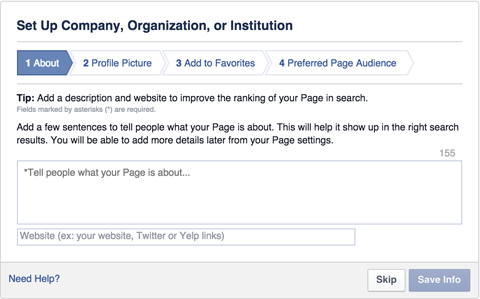 facebook company organization or institution page set up