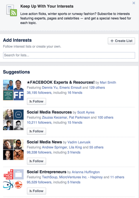 facebook interests suggestions