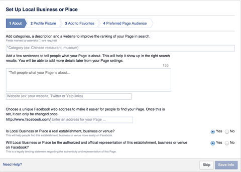 facebook local business page set up