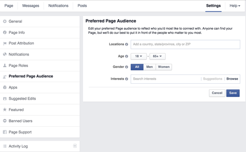 facebook page audience settings