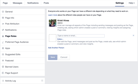 facebook page manager settings