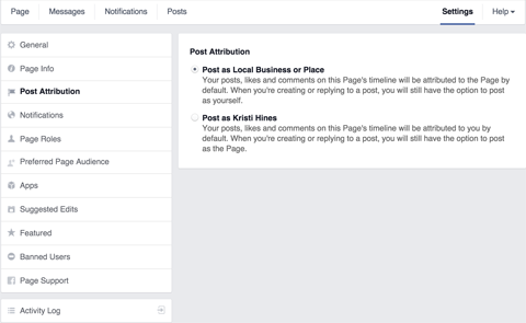 facebook page post attribution settings