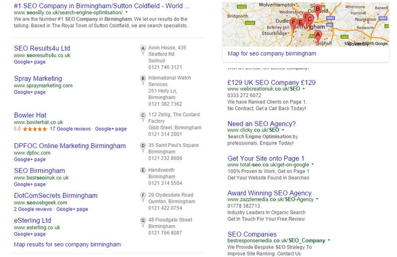 local search results showing one company with review stars