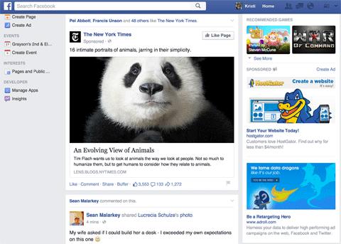 news feed ad on facebook