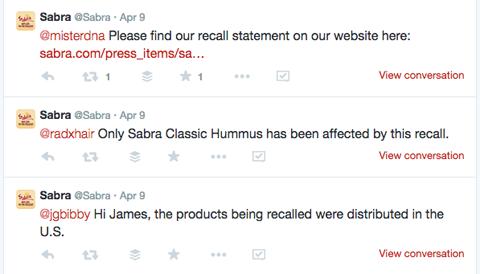 sabra recall tweets