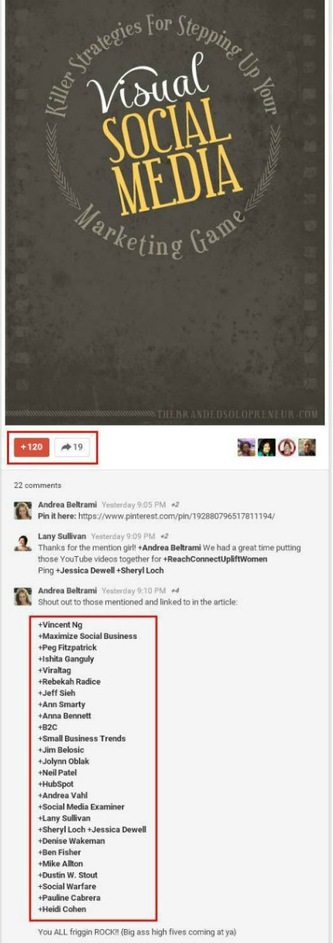 tags in google+ post comments