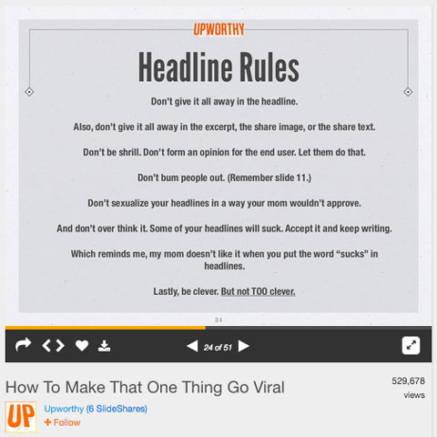 upworthy slideshare slide about headlines