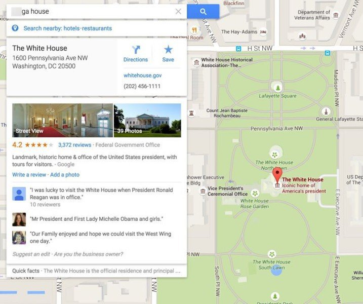 white house google maps
