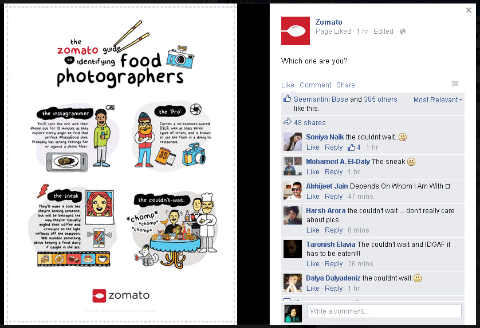 zomato facebook question post with an image